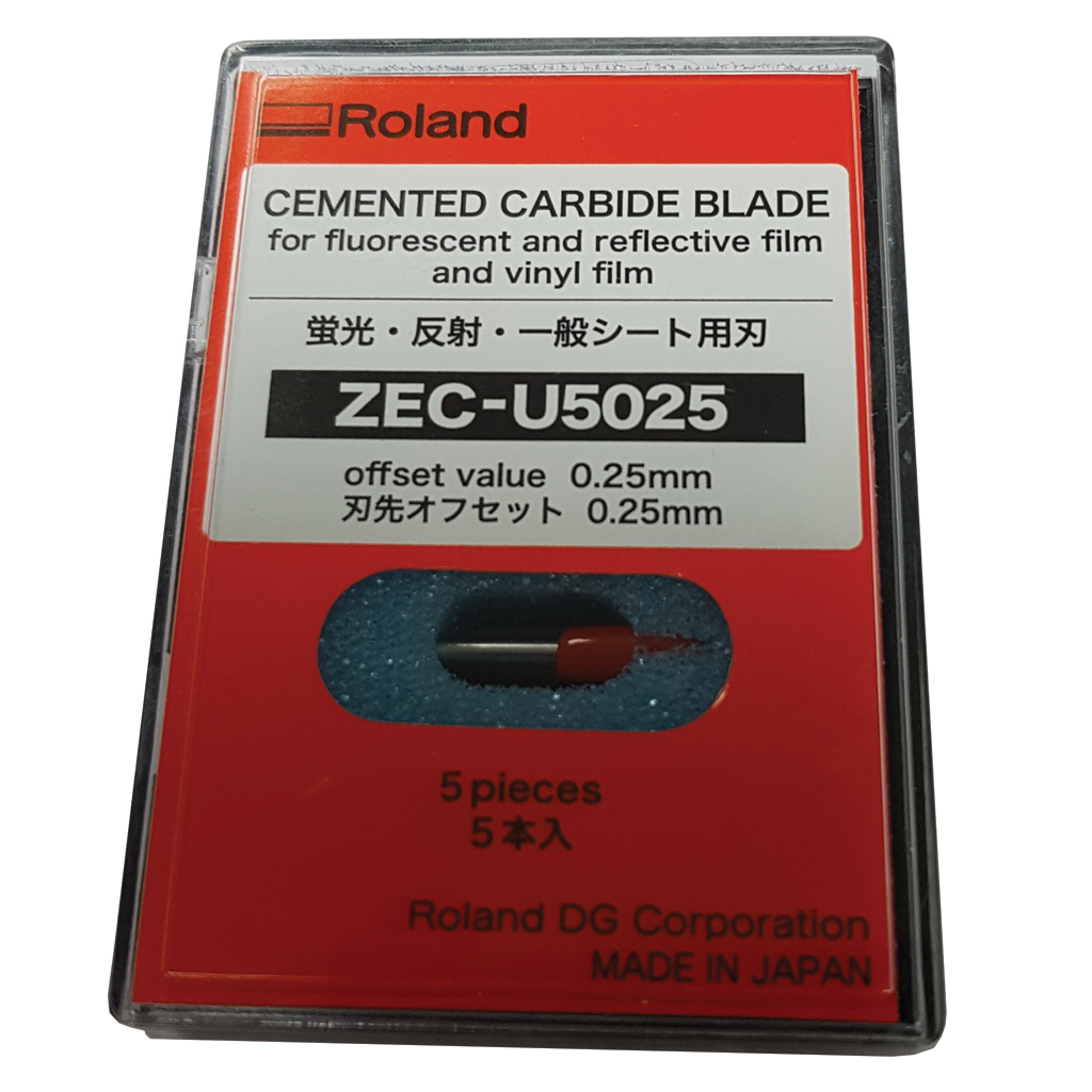 Roland Cemented Carbide Blade ZEC-U5025 for fluorescent/reflective/vinyl (Pack of 5)