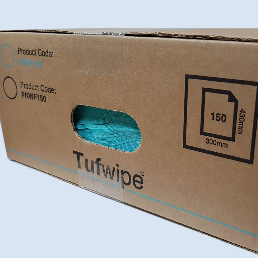 TufWipe® PNBF150 Folded Cleaning Tissues Blue - Box of 150