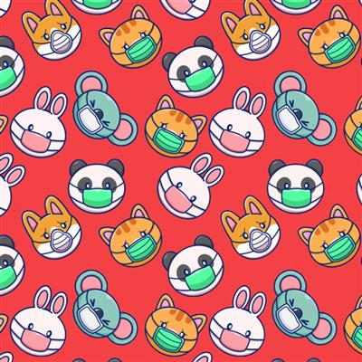 300-EasyPattern Happy Animals Red 300mm x 1 Metre